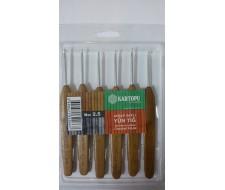 Крючок вязальный с деревянной ручкой,(Kartopu)